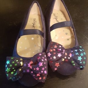Girl's Slip Ons Black with Bow Stars by Cat & Jack